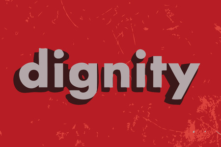 dignity: dignity vector word on red concrete wall Illustration