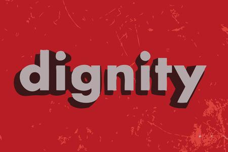 dignit�: mot de vecteur de la dignit� sur le mur de b�ton rouge Illustration