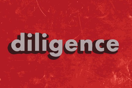 diligence: diligence vector word on red concrete wall