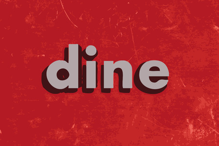 dine: dine vector word on red concrete wall Illustration