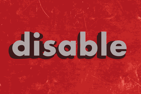 disable: disable vector word on red concrete wall
