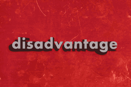 disadvantage: disadvantage vector word on red concrete wall