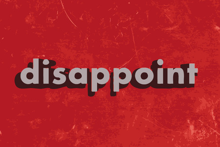 disappoint: disappoint vector word on red concrete wall