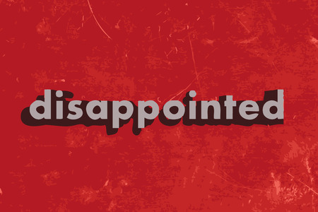 disappointed: disappointed vector word on red concrete wall