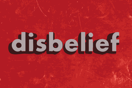 disbelief: disbelief vector word on red concrete wall Illustration