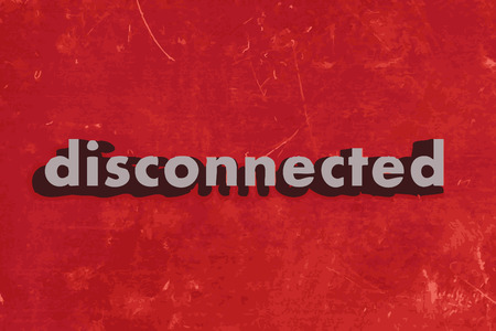 disconnected: disconnected vector word on red concrete wall Illustration