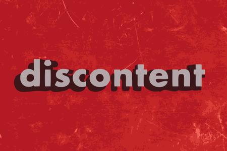discontent: discontent vector word on red concrete wall
