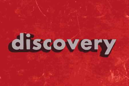 discovery: discovery vector word on red concrete wall Illustration