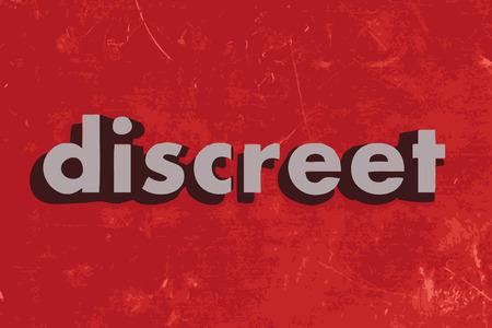 discreto: palabra vector discreto en rojo muro de hormig�n