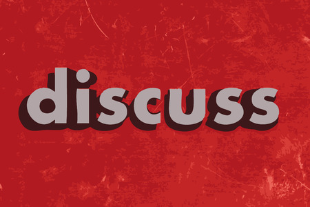 discuss: discuss vector word on red concrete wall