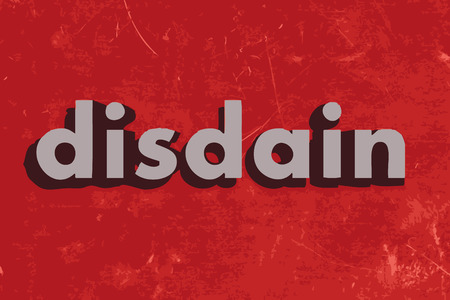 disdain: disdain vector word on red concrete wall