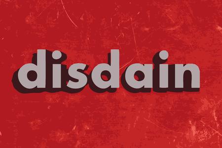 disdain: palabra vector desd�n en rojo muro de hormig�n