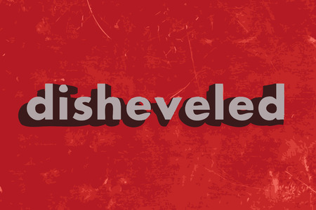 disheveled: disheveled vector word on red concrete wall Illustration