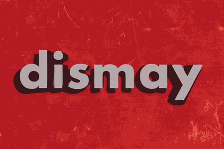 dismay: dismay vector word on red concrete wall