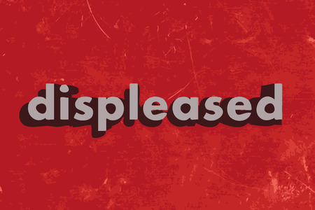 displeased: displeased vector word on red concrete wall Illustration