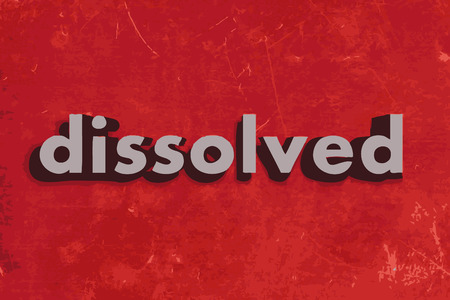 dissolved: dissolved vector word on red concrete wall