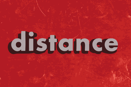 distance: distance vector word on red concrete wall