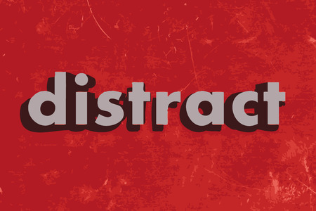 distract: distract vector word on red concrete wall