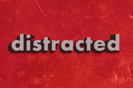 distracted: distracted vector word on red concrete wall