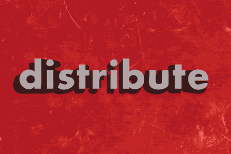 distribute: distribute vector word on red concrete wall Illustration