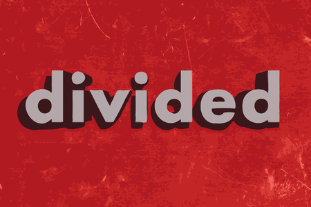 divided: divided vector word on red concrete wall