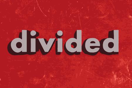 geteilt: unterteilt vektor wort auf rotem Betonwand Illustration