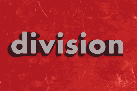 division: division vector word on red concrete wall Illustration