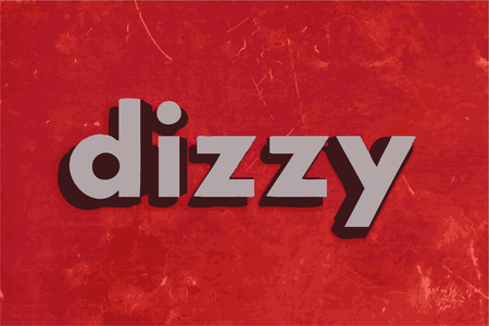 dizzy: dizzy vector word on red concrete wall