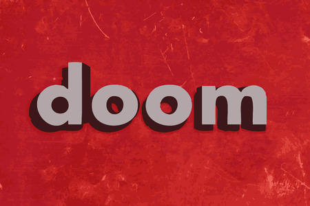 doom: doom vector word on red concrete wall