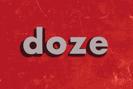 doze: doze vector word on red concrete wall