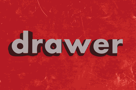 drawer: drawer vector word on red concrete wall