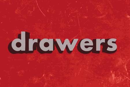 drawers: drawers vector word on red concrete wall