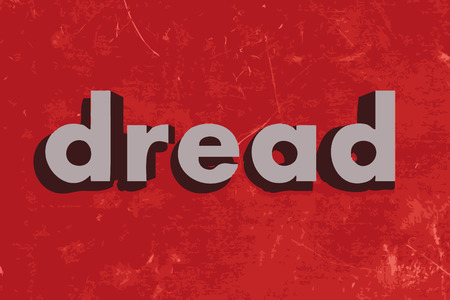 dread: dread vector word on red concrete wall