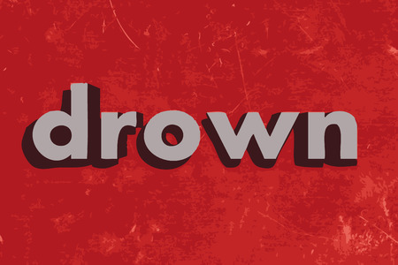 drown: drown vector word on red concrete wall