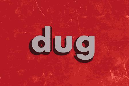 dug: dug vector word on red concrete wall