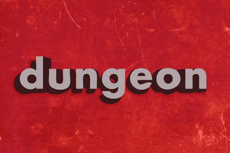 dungeon: dungeon vector word on red concrete wall Illustration