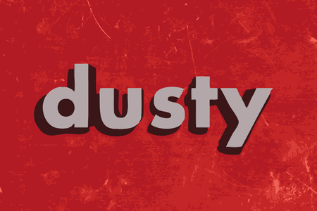 dusty: dusty vector word on red concrete wall Illustration