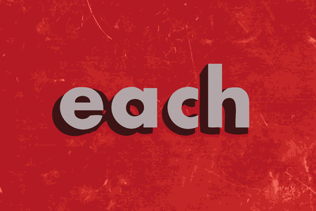each: each vector word on red concrete wall