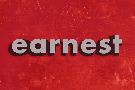 earnest: palabra vector serio en rojo muro de hormig�n