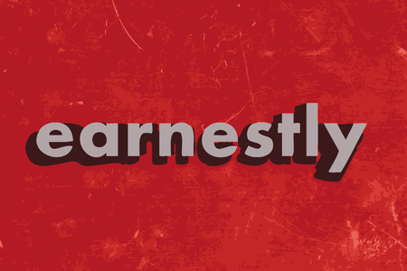 earnestly: earnestly vector word on red concrete wall Illustration