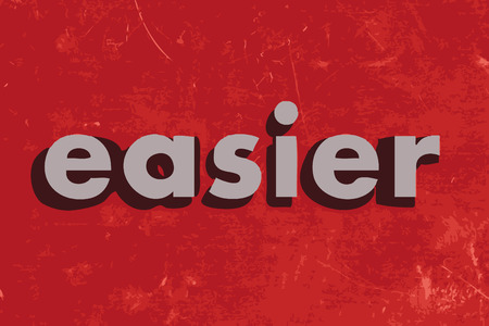 easier: easier vector word on red concrete wall