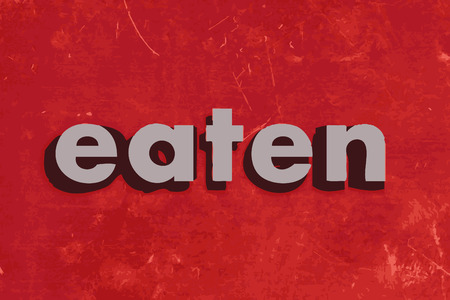 eaten: eaten vector word on red concrete wall Illustration