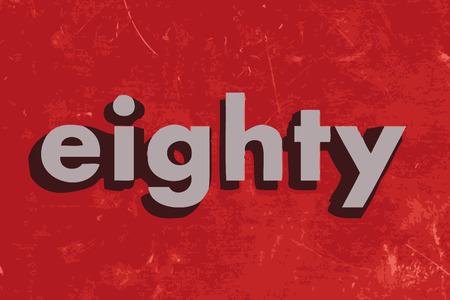 ochenta: palabra vector ochenta en rojo muro de hormig�n