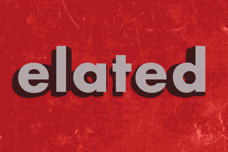 elated: elated vector word on red concrete wall Illustration