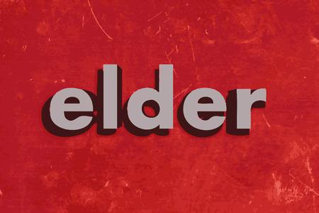 elder: elder vector word on red concrete wall Illustration