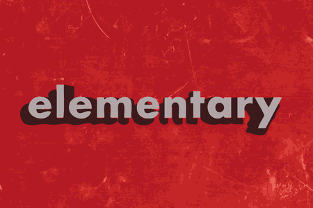 elementary: elementary vector word on red concrete wall Illustration