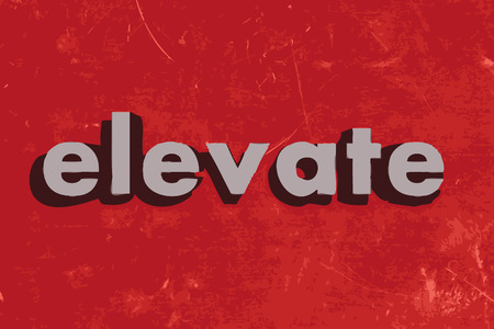 elevate vector word on red concrete wall Illustration