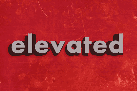 elevate: elevated vector word on red concrete wall