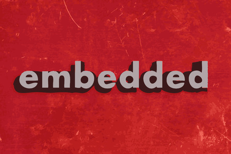 embedded: embedded vector word on red concrete wall Illustration