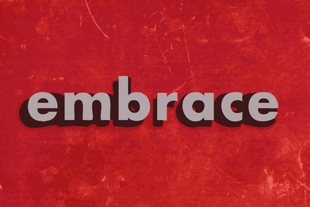 embrace: embrace vector word on red concrete wall Illustration